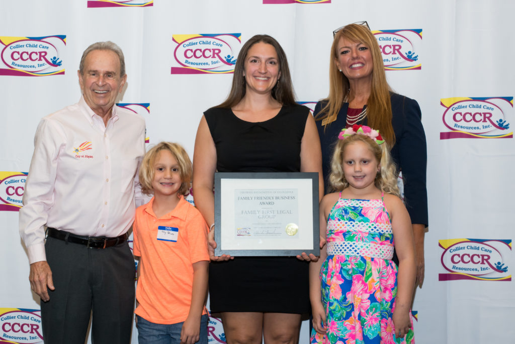 Family First Legal Group with their 2018 Family Friendly Business Certificate: Mayor Bill Barnett, Avery Peterson, Katie Peterson, Mazlyn Peterson and Niccole Howard